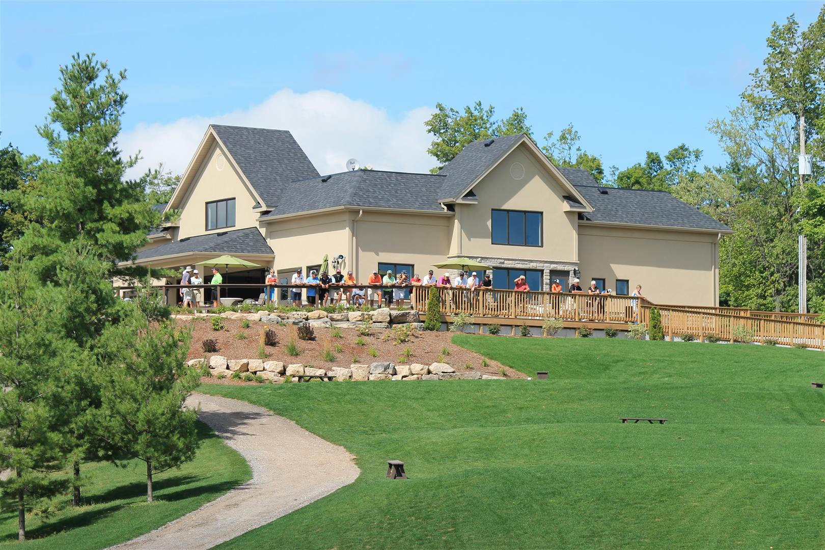 Clubhouse from Lakes 1 Green at Victoria Park Valley Guelph