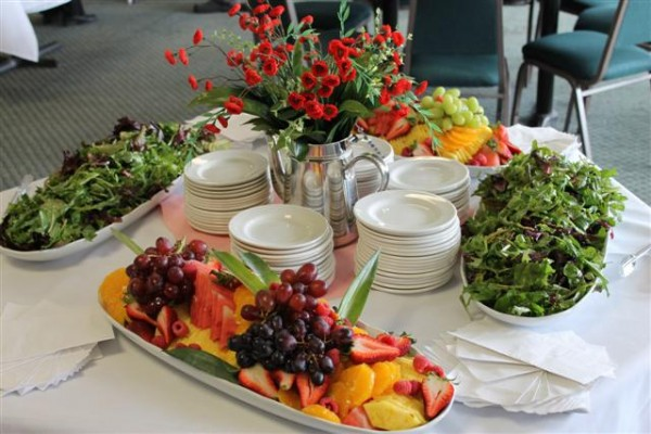 Food laid out for a banquet at Victoria Park Golf Guelph
